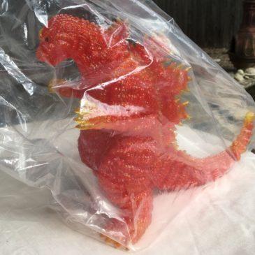 Marmit Desu Goji Burning Godzilla 1995 Super Festival 2007 Special Red with translucent claws fins tail gold yellow vinyl