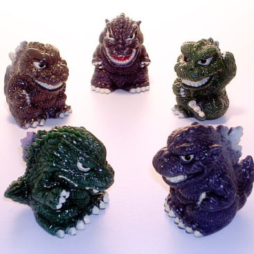Godzilla 2000 Super Deformed Figures Five Piece  Set Box Yutaka